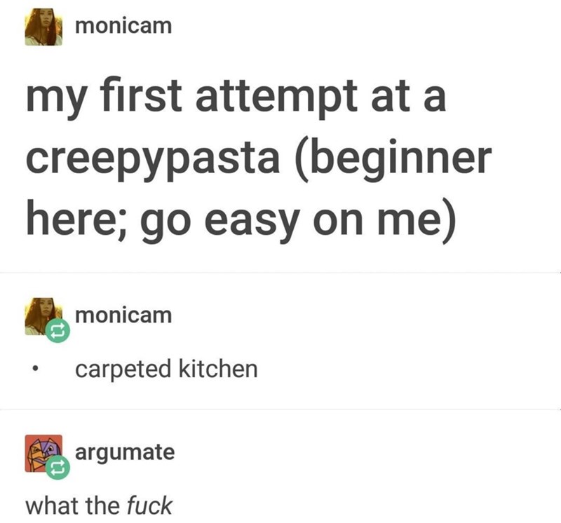 Text - Text - monicam my first attempt at a creepypasta (beginner here; go easy on me) monicam carpeted kitchen argumate what the fuck