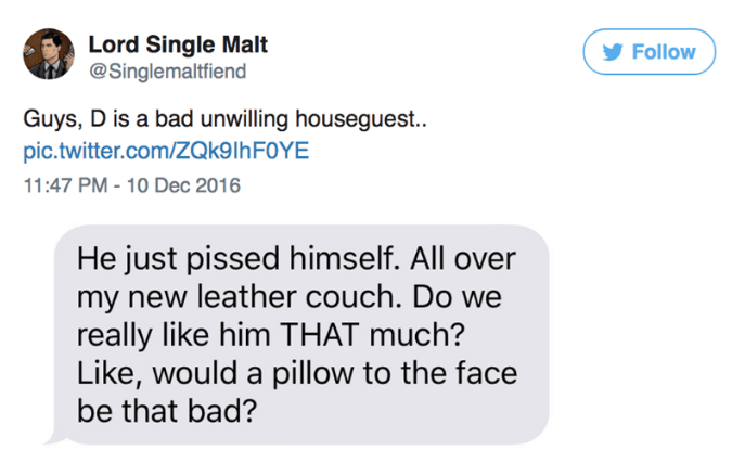 Text - Lord Single Malt @Singlemaltfiend Follow Guys, D is a bad unwilling houseguest.. pic.twitter.com/ZQk9lhF0YE 11:47 PM - 10 Dec 2016 He just pissed himself. All over my new leather couch. Do we really like him THAT much? Like, would a pillow to the face be that bad?