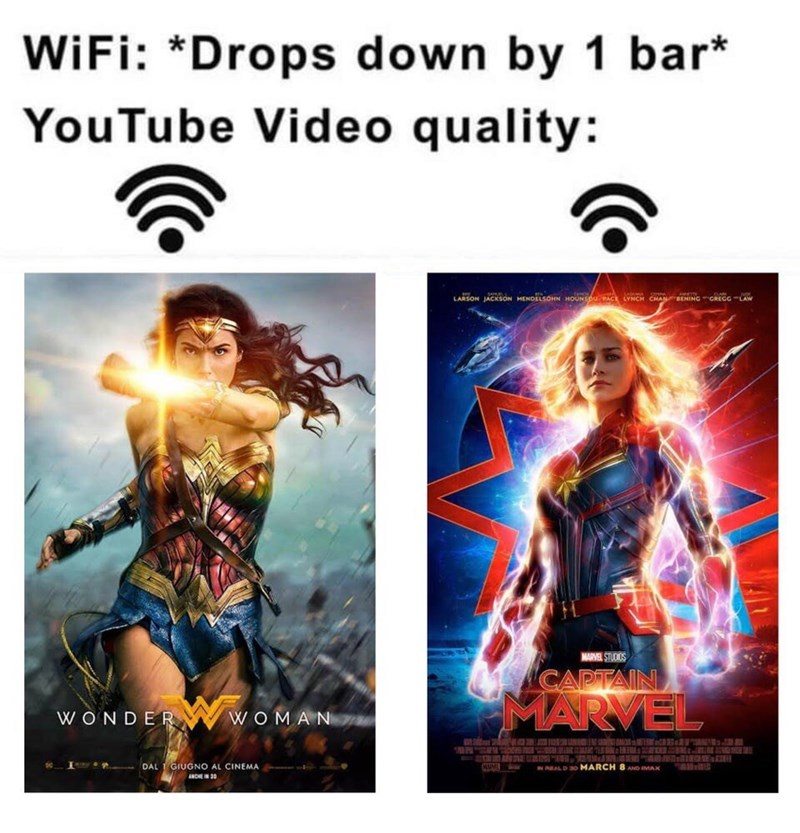 Text - WiFi: *Drops down by 1 bar* YouTube Video quality: LARSON JACKSON MENDELSOHN HOUNSOU AC LYNCH CHANBENING GREGG-LAW MARVEL STUCIOS CAPTAIN MARVEL WONDER WOMA N DAL 1 GIUGNO AL CINEMA ANCHE IN 3 AlD 45M IN AL D 30 MARCH 8 AOIMAX K