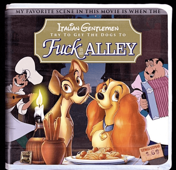 Animated cartoon - MY FAVORITE SCENE IN THIS MOVIE IS WHEN THE IrAGAN GENTLEMEN TRY TO GET THE DOGS TO Fuck ALLEY an TEENAGE STEPDAD $.69
