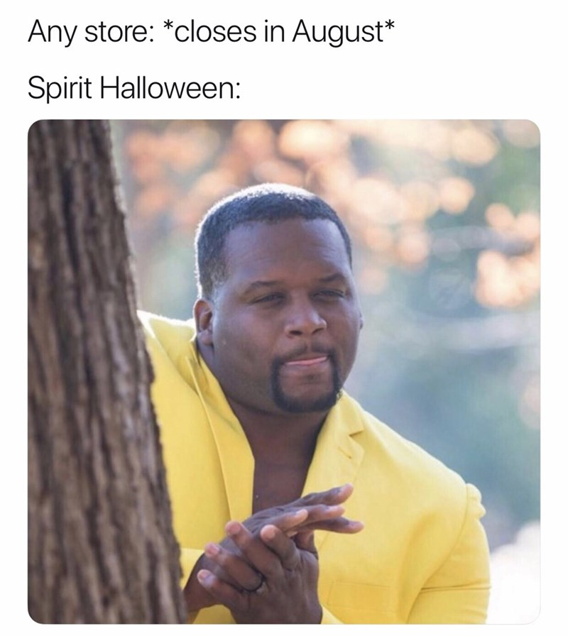 Text - Any store: *closes in August* Spirit Halloween: