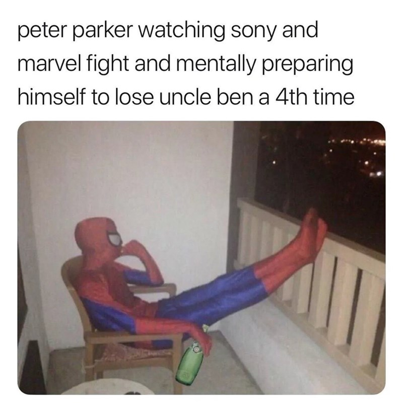 Human - peter parker watching sony and marvel fight and mentally preparing himself to lose uncle ben a 4th time