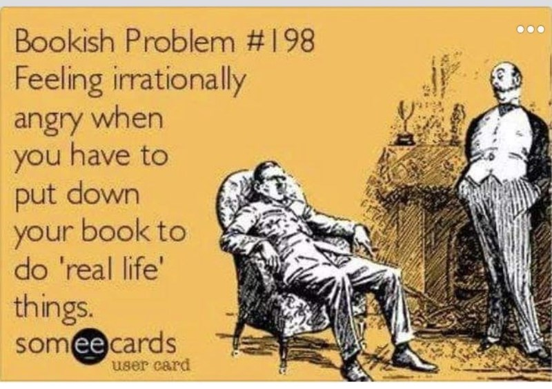 Cartoon - Bookish Problem # 198 Feeling irrationally angry when you have to put down your book to do 'real life' things. someecards user card
