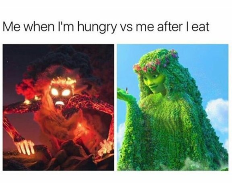 Text - Me when I'm hungry vs me after l eat
