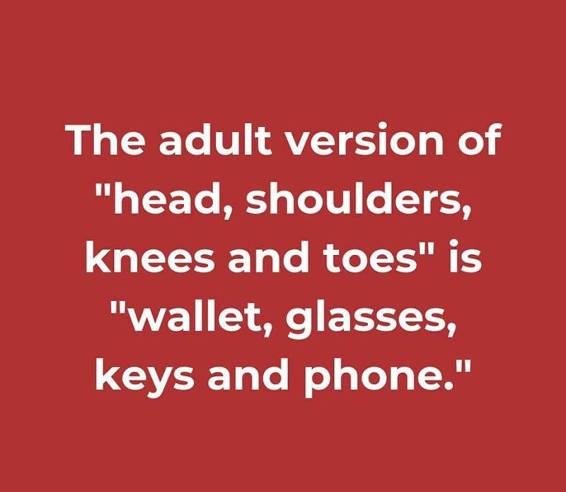 "Text - Text - The adult version of ""head, shoulders, knees and toes"" is ""wallet, glasses, keys and phone."""