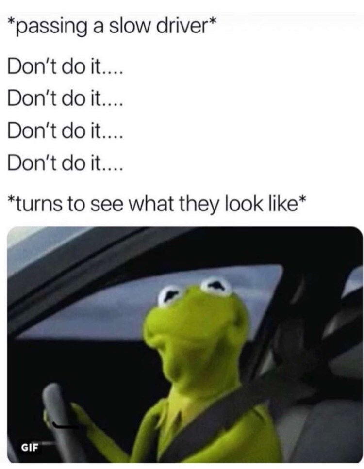 Product - passing a slow driver* Don't do it... Don't do it.... Don't do it.... Don't do it... *turns to see what they look like* GIF