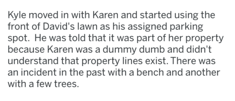 Text - Kyle moved in with Karen and started using the front of David's lawn as his assigned parking spot. He was told that it was part of her property because Karen was a dummy dumb and didn't understand that property lines exist. There was an incident in the past with a bench and another with a few trees.
