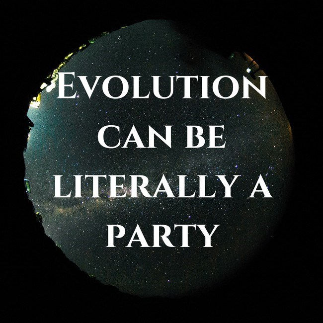 Text - Text - EVOLUTION CAN BE LITERALLY A PARTY