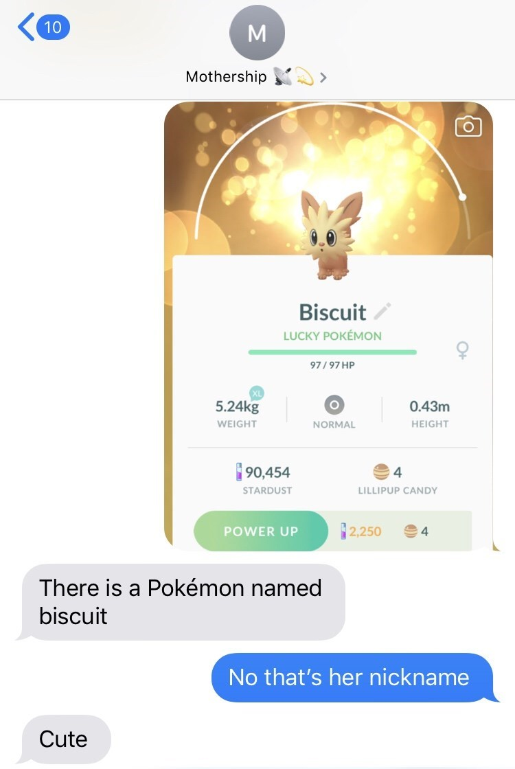 Text - 10 Mothership Biscuit LUCKY POKEMON 97/97 HP 5.24kg 0.43m WEIGHT HEIGHT NORMAL 90,454 4 STARDUST LILLIPUP CANDY 2,250 4 POWER UP There is a Pokémon named biscuit No that's her nickname Cute fo