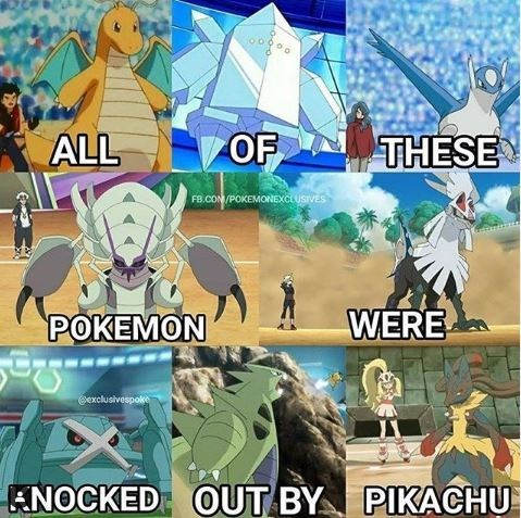 Anime - ALL OF THESE FB.COM/POKEMONEXCLUSIVES WERE POKEMON exclusivespoke ANOCKED OUT BY PIKACHU