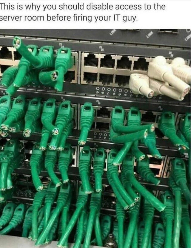 Green - This is why you should disable access to the server room before firing your IT guy. LIN LINK 9990