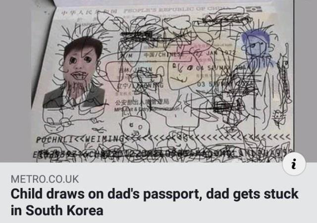 Text - PA/CHINES JAN 63 S 公安部出 局 <<<kxk<<<<< POCHNLIWEIMING E RSOCH i METRO.CO.UK Child draws on dad's passport, dad gets stuck in South Korea