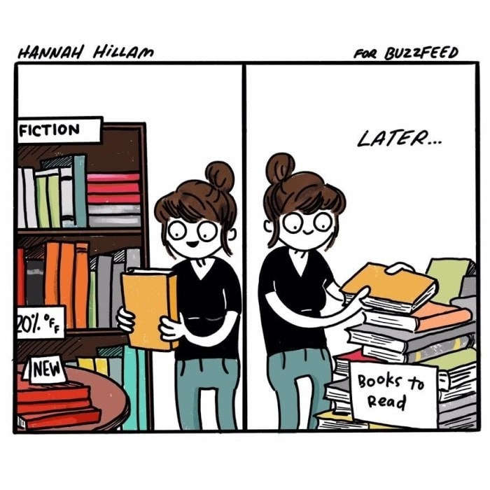 Cartoon - HANNAH HILLAM FOR BUZZFEED FICTION LATER... 20%. °F NEW Books to Read