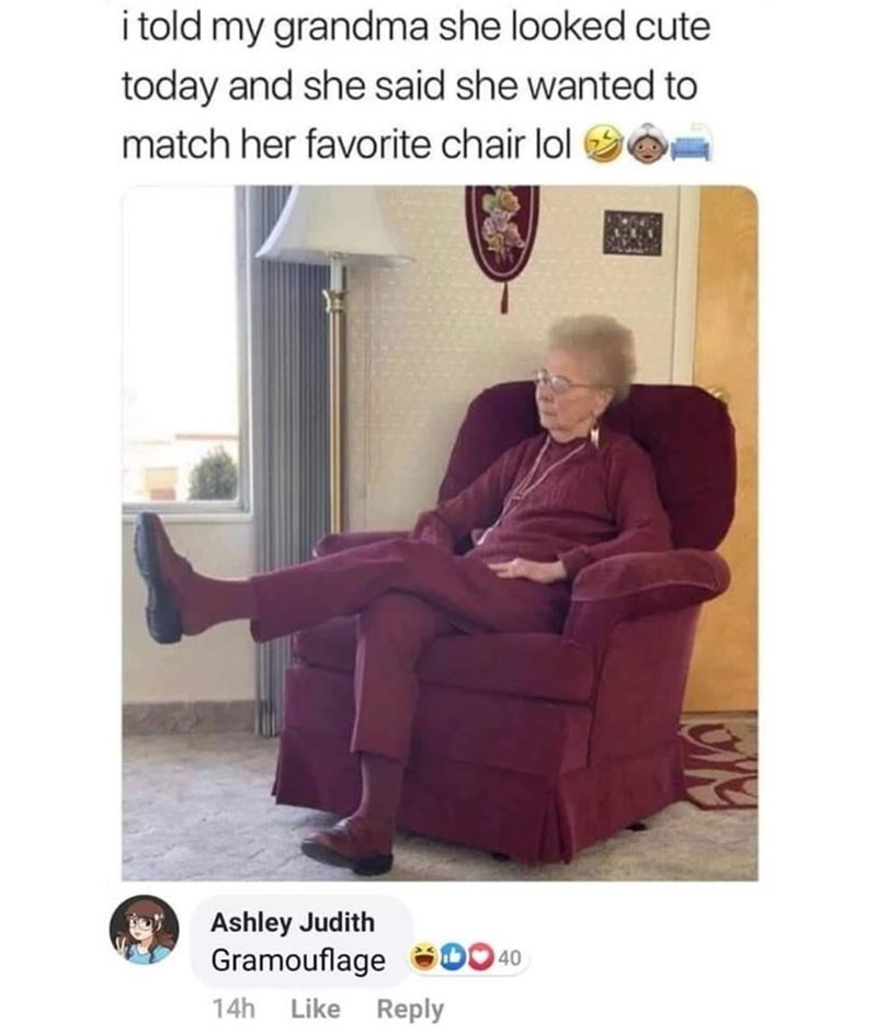 Furniture - i told my grandma she looked cute today and she said she wanted to match her favorite chair lol Ashley Judith Gramouflage 40 Like Reply 14h