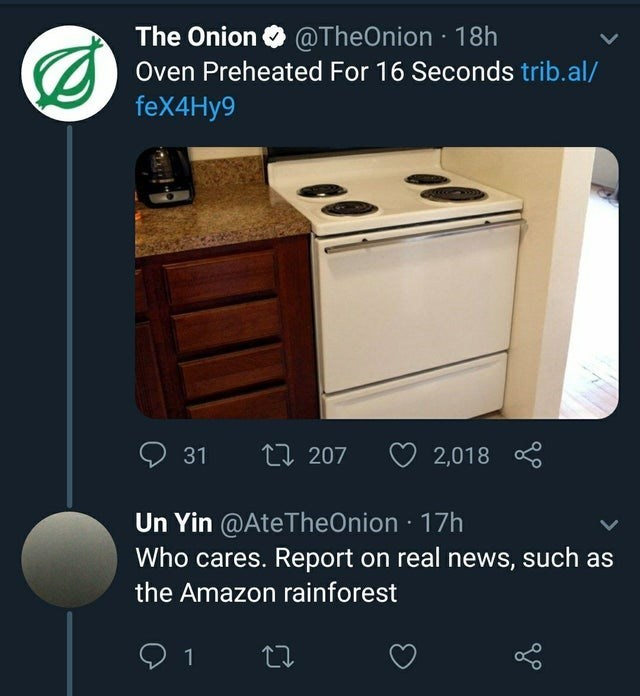 Product - The Onion @TheOnion 18h Oven Preheated For 16 Seconds trib.al/ feX4Hy9 О 31 L 207 2,018 Un Yin @AteTheOnion 17h Who cares. Report on real news, such as the Amazon rainforest 1