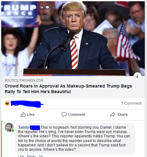 Product - RUMP SCE K POLITICS.THEONION.COM Crowd Roars In Approval As Makeup-Smeared Trump Begs Rally To Tell Him He's Beautiful 1 Comment Like Share Comment Sandy the reporter. He's lying. I've never seen Trump wear eye makeup. Where's the video? This reporter apparently hates Trump. You can tell by the choice of words the reporter used to describe what happened. And I don't believe for a second that Trump said fuck you to anyone. Where's the video? This is hogwash. Not blaming you, Daniel, I b