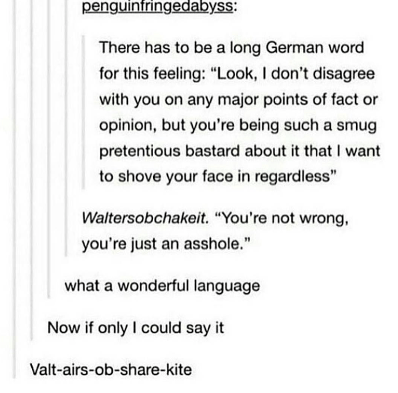 """Text - penguintringedabyss: There has to be a long German word for this feeling: """"Look, I don't disagree with you on any major points of fact or opinion, but you're being such a smug pretentious bastard about it that I want to shove your face in regardless"""" Waltersobchakeit. """"You're not wrong, you're just an asshole."""" what a wonderful language Now if only I could say it Valt-airs-ob-share-kite"""