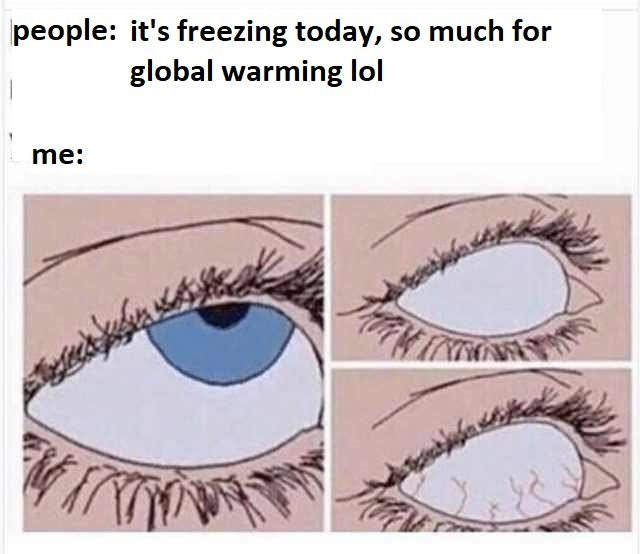 Text - Eyebrow - people: it's freezing today, so much for global warming lol me: