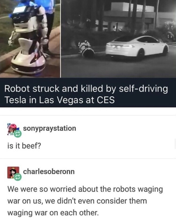 Motor vehicle - Robot struck and killed by self-driving Tesla in Las Vegas at CES sonypraystation is it beef? charlesoberonn We were so worried about the robots waging war on us, we didn't even consider them waging war on each other.