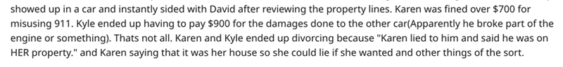 """Text - showed up in a car and instantly sided with David after reviewing the property lines. Karen was fined over $700 for misusing 911. Kyle ended up having to pay $900 for the damages done to the other car(Apparently he broke part of the engine or something). Thats not all. Karen and Kyle ended up divorcing because """"Karen lied to him and said he was on HER property."""" and Karen saying that it was her house so she could lie if she wanted and other things of the sort."""