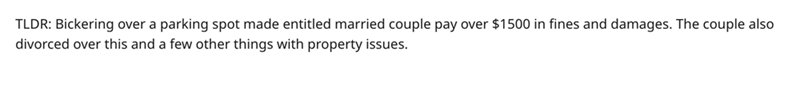 Text - TLDR: Bickering over a parking spot made entitled married couple pay over $1500 in fines and damages. The couple also divorced over this and a few other things with property issues.