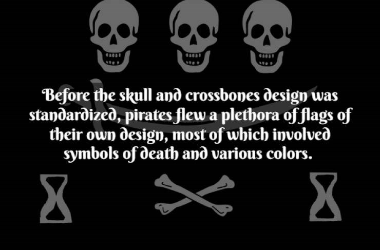 Text - Text - Before the skull and crossbones design was standardized, pirates flew a plethora offlags of their own design, most of which involved symbols of death and various colors. X