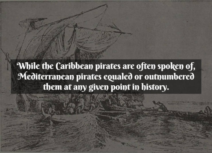 Text - Text - While the Caribbean pirates are often spoken of, Mediterranean pirates equaled or outnumbered them at any given point in bistory.
