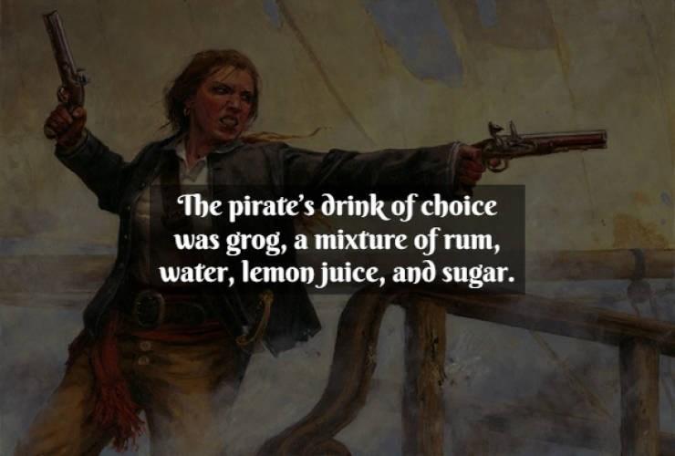 Gun - The pirate's orink of choice was grog, a mixture of rum, water, lemon juice, and sugar.