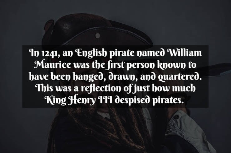 Text - 1n 1241, an English pirate named William Maurice was the first person known to have been hanged, drawn, and Quartered. This was a reflection of just bow much King Henry 111 0espised pirates.