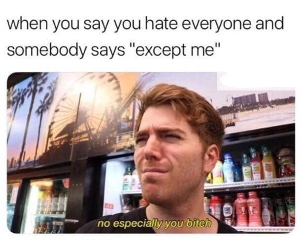 """Text - when you say you hate everyone and somebody says """"except me"""" no especially you bitch"""