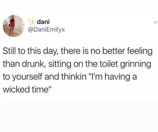 """Text - dani @DaniEmilyx Still to this day, there is no better feeling than drunk, sitting on the toilet grinning to yourself and thinkin """"I'm having a wicked time"""""""