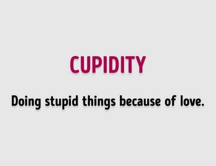 Text - CUPIDITY Doing stupid things because of love.