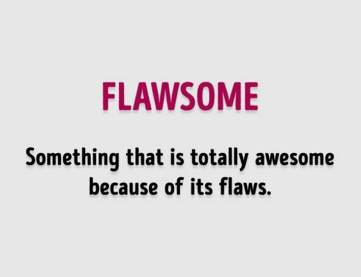 Text - FLAWSOME Something that is totally awesome because of its flaws.