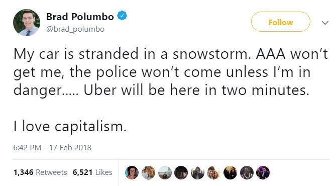 Text - Brad Polumbo Follow @brad_polumbo My car is stranded in a snowstorm. AAA won't get me, the police won't come unless I'm in danger..... Uber will be here in two minutes. I love capitalism. 6:42 PM - 17 Feb 2018 1,346 Retweets 6,521 Likes