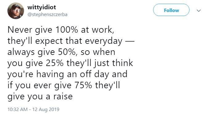 Text - wittyidiot @stephenszczerba Follow Never give 100% at work, they'll expect that everyday- always give 50%, so when you give 25% they'll just think you're having an off day and if you ever give 75% they'll give you a raise 10:32 AM 12 Aug 2019
