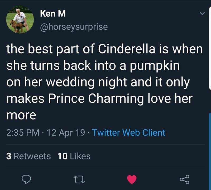 Text - Ken M @horseysurprise the best part of Cinderella is when she turns back into a pumpkin on her wedding night and it only makes Prince Charming love her more 2:35 PM 12 Apr 19 Twitter Web Client 3 Retweets10 Likes