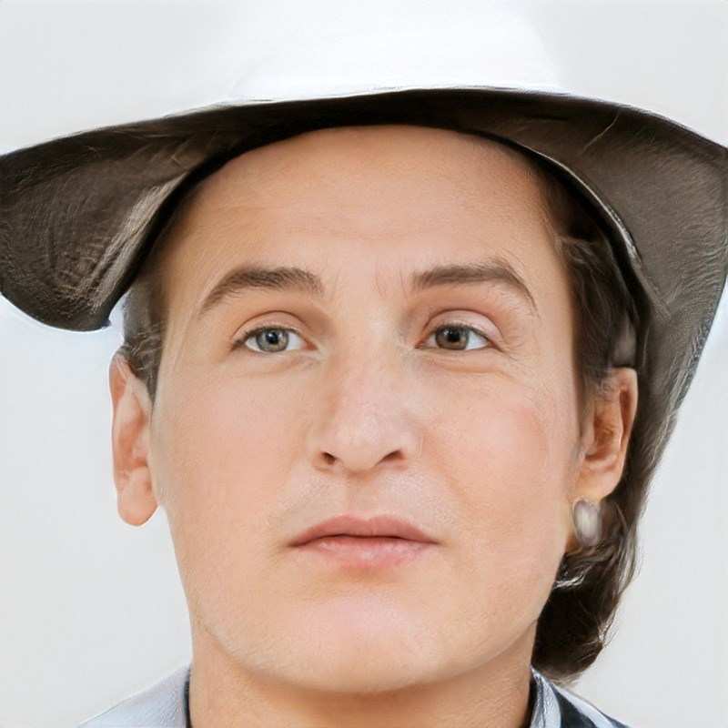 ai generated photo of man wearing weird hat thing