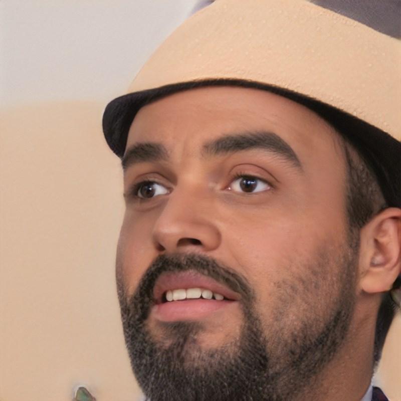 ai generated photo of man wearing cardboard hat
