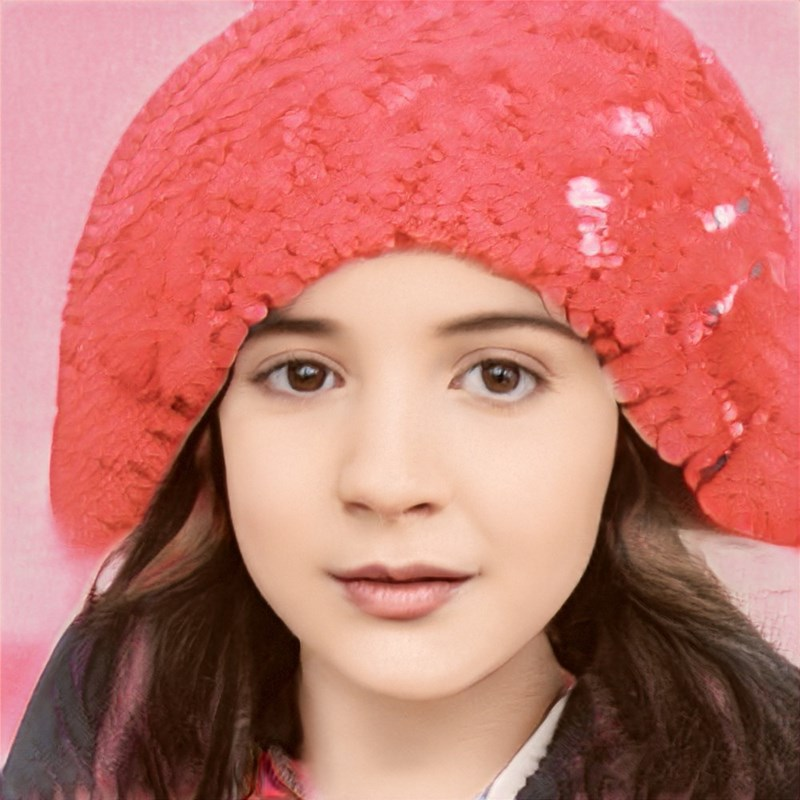 ai generated photo of girl wearing pink glittery thing on head