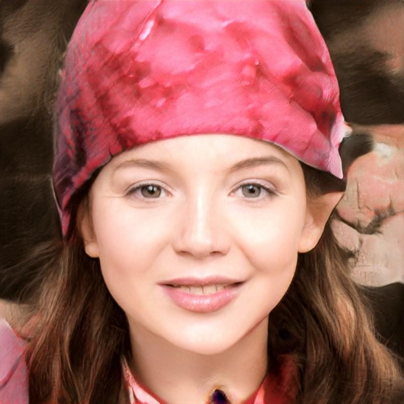 ai generated photo of woman wearing pink mushroom hat