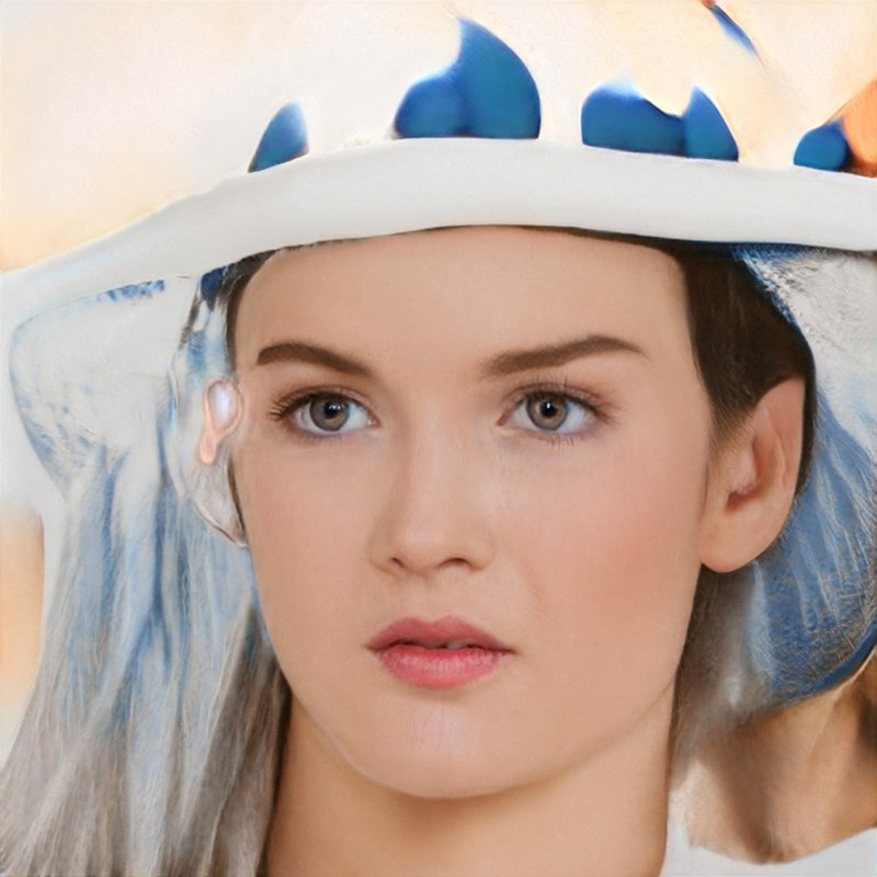 ai generated photo of woman wearing blue hat thing