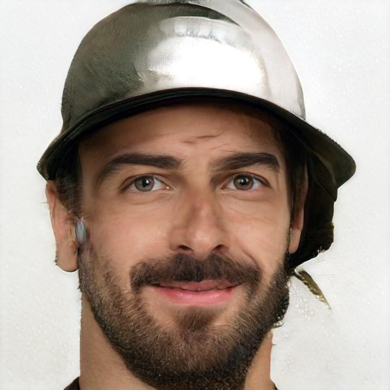 ai generated photo of man wearing tin hat