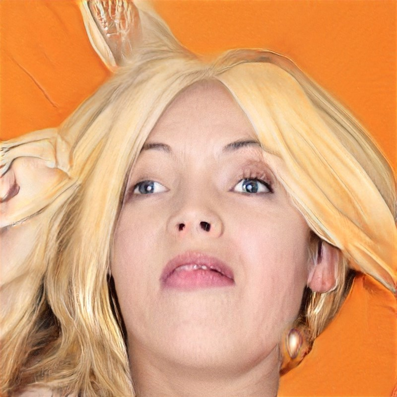 ai generated photo of woman with weird hair orange background