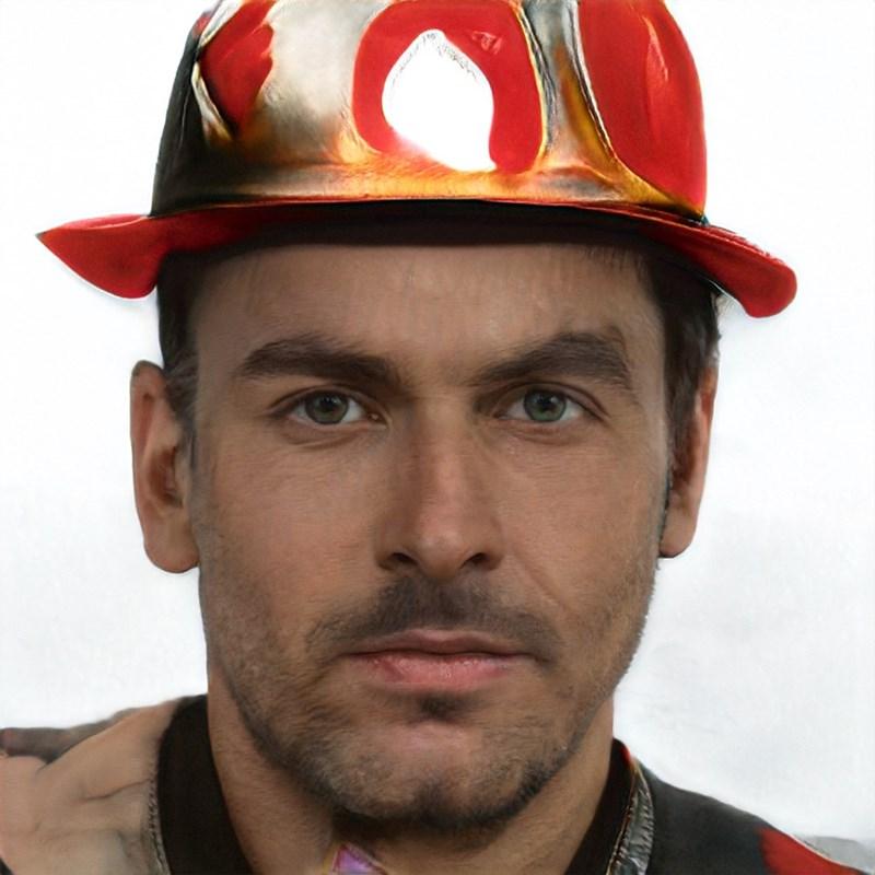 ai generated photo of man wearing weird fireman hat