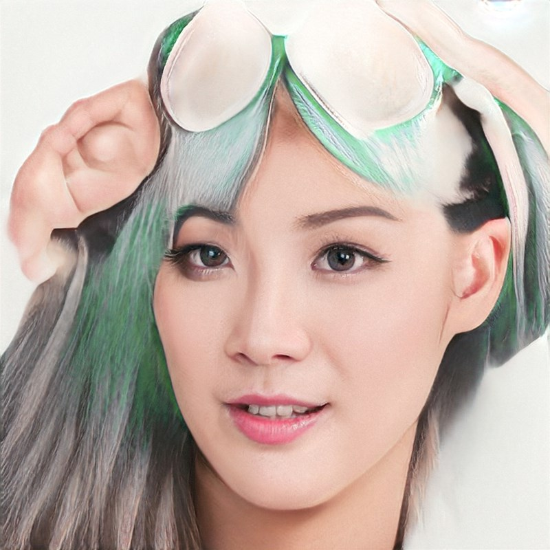 ai generated photo of asian woman green hair goggles