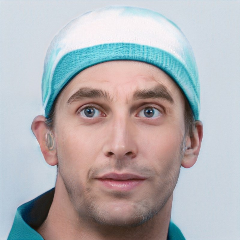 ai generated photo of man wearing blue weird hat on head