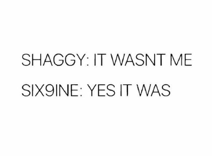 Text - SHAGGY: IT WASNT ME SIX9INE: YES IT WAS