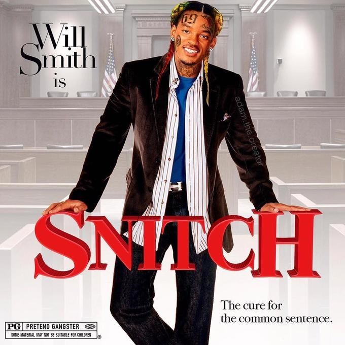 Album cover - Will Smith is SMACH The cure for the common sentence PG PRETEND GANGSTER SOME MATERIAL MAY NOT BE SUITABLE FOR CHILDREN adam.the.creator