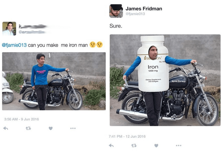 Wheelchair - James Fridman @fjamie013 Sure. @fjamie013 can you make me iron man BON No e Iron 1200 mg Oetary Seoeme 250 Sohgs ROYAL ERE 3:56 AM -9 Jun 2016 7 7:41 PM-12 Jun 2016