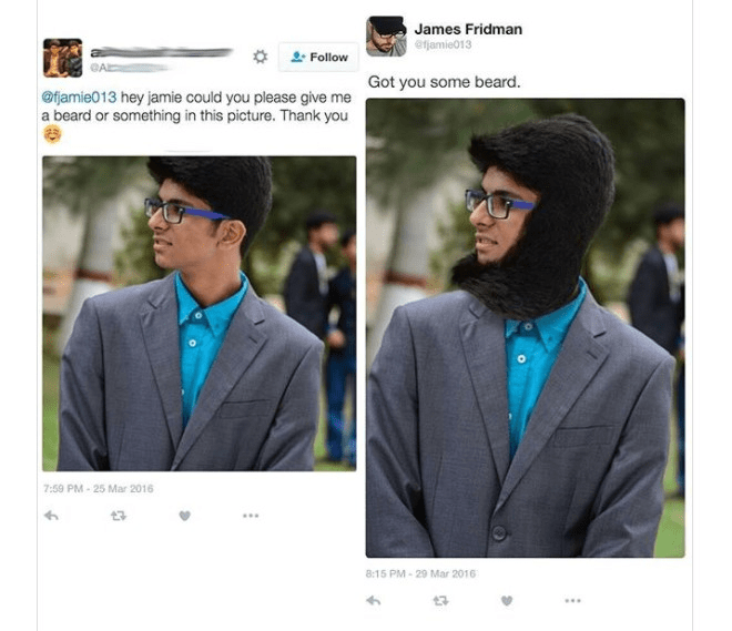 Eyewear - James Fridman ejamie013 Follow Got you some beard. @fjamie013 hey jamie could you please give me a beard or something in this picture. Thank you 7:59 PM-25 Mar 2016 13 8:15 PM-29 Mar 2016